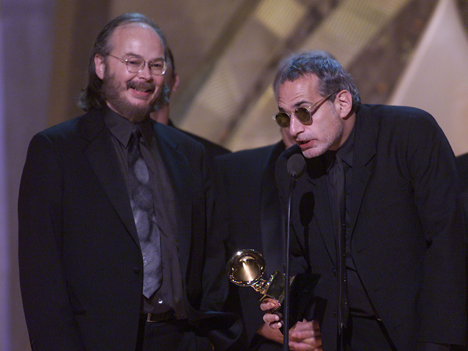 Walter Becker (left) and Donald Fagen of Steely Dan accept the award for Album of the Year at The 43rd Annual Grammy Awards.