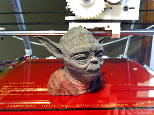 A 3-D printed bust of Yoda is one of the more popular digital designs shared on Thingiverse.