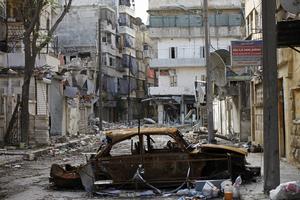 A damaged street in Aleppo, last November.