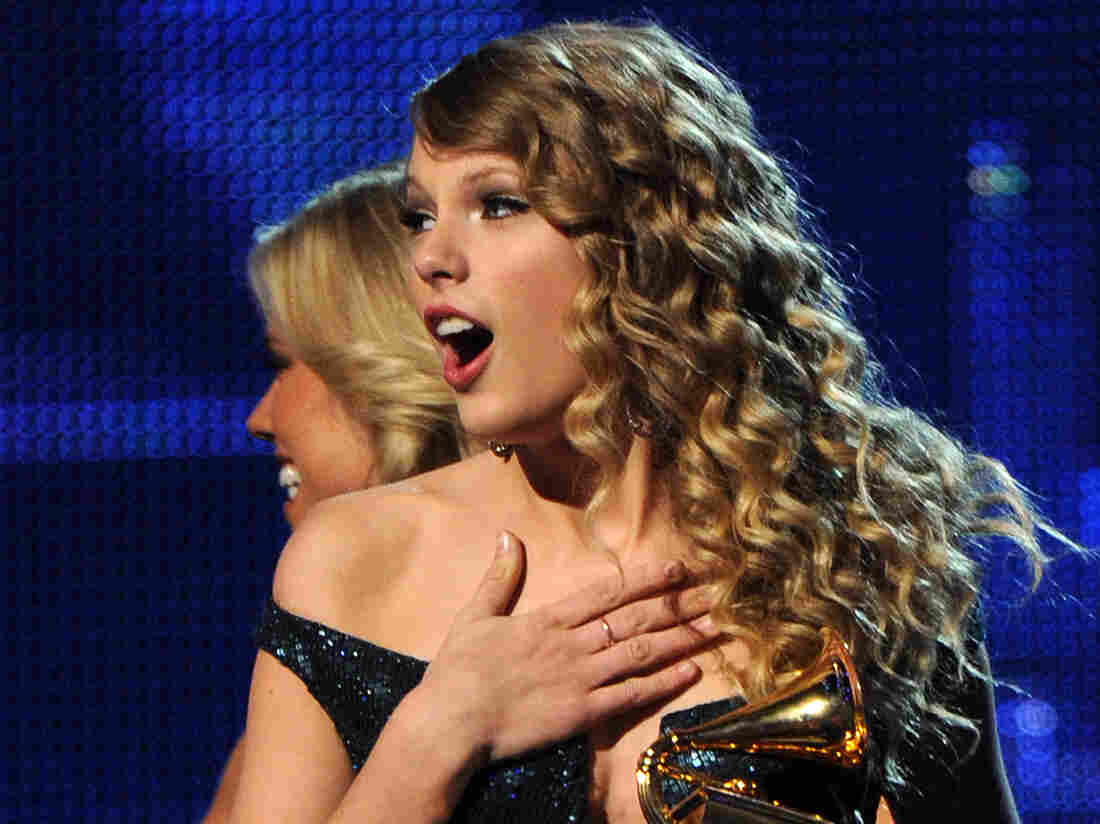 Taylor Swift accepts the award for Album of the Year during the 52nd annual Grammy Awards in Los Angeles, California on January 31, 2010.