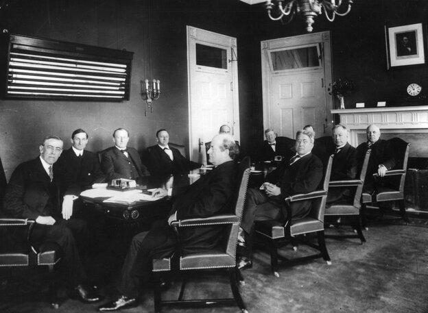 President Woodrow Wilson meets with his first Cabinet, circa 1912. Should Cabinets have a more central role in a president's decision making?