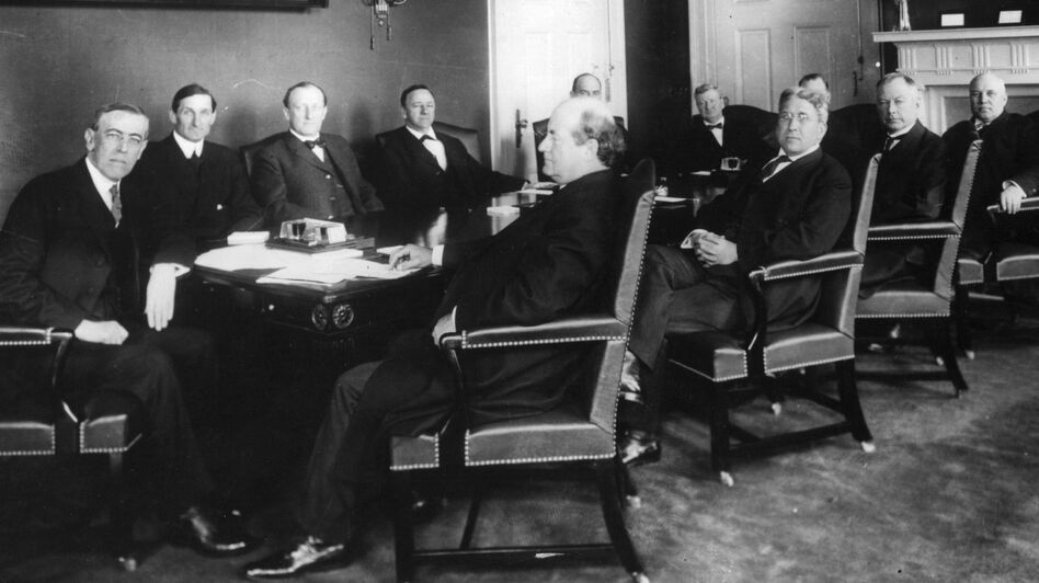 President Woodrow Wilson meets with his first Cabinet, circa 1912. Should Cabinets have a more central role in a president's decision making? (Getty Images)