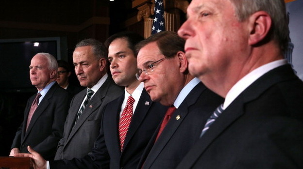 Sen. Charles Schumer, D-N.Y. and Sen. Marco Rubio, R-Fla., (second and third from left) announced plans to work on a bipartisan immigration proposal with their colleagues on Jan. 28 on Capitol Hill. They were also some of the first to respond to a leaked White House proposal. (Getty Images)