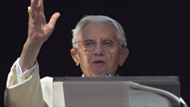 Pope Benedict XVI acknowledges a cheering crowd of faithful and pilgrims during the Angelus prayer from the window of his apartments at the Vatican on Sunday. (AP)