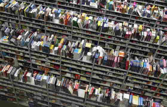 Books in an Amazon warehouse in Bad Hersfeld, Germany.