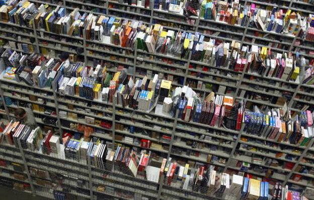 Books in an Amazon warehouse in Bad Hersfeld, Germany.