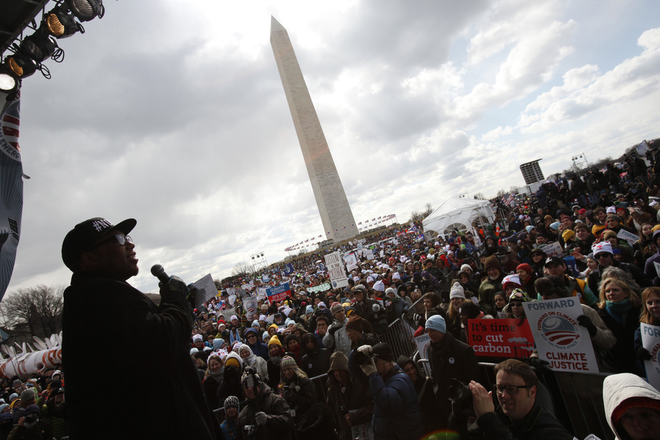 Reverand Lennox Yearwood, Jr., addresses a crowd of up to 40,000 people at the Forward on Climate Rally in Washington, D.C. on February 17, 2013. (NPR)