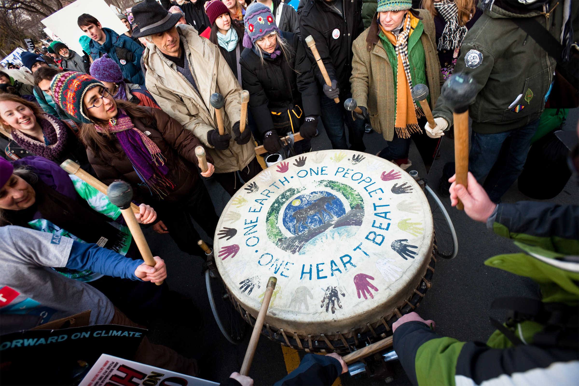 Marchers brought a variety of musical instruments to the Forward on Climate Rally, from harmonicas, trumpets and guitars to a communal drum pushed on a homemade dolly
