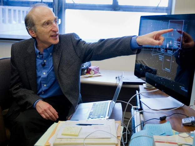 Nobel Prize winner Saul Perlmutter explains part of his research in astrophysics.