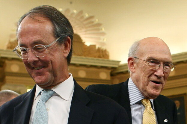 Co-chairmen of the National Commission on Fiscal Responsibility and Reform, former Sen. Alan Simpson, right, and Erskine Bowles.