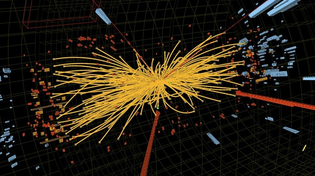 An undated handout graphic distributed on July 4, 2012 by the European Organization for Nuclear Research (CERN) in Geneva shows a representation of traces of traces of a proton-proton collision measured in the Compact Muon Solenoid (CMS) experience in the search for the Higgs boson. (AFP/Getty Images)