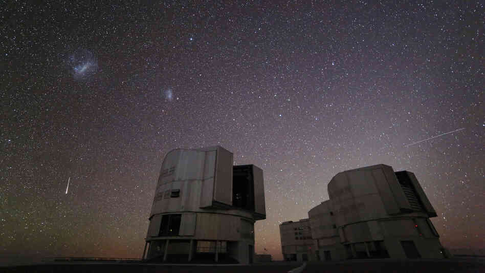 The Geminid meteor shower makes a December 2012 appearance over the ESO's Paranal Observatory in Chile. But you don't have to be a professional astronomer to enjoy similar sights. All you have to do is go out in the countryside and look up.