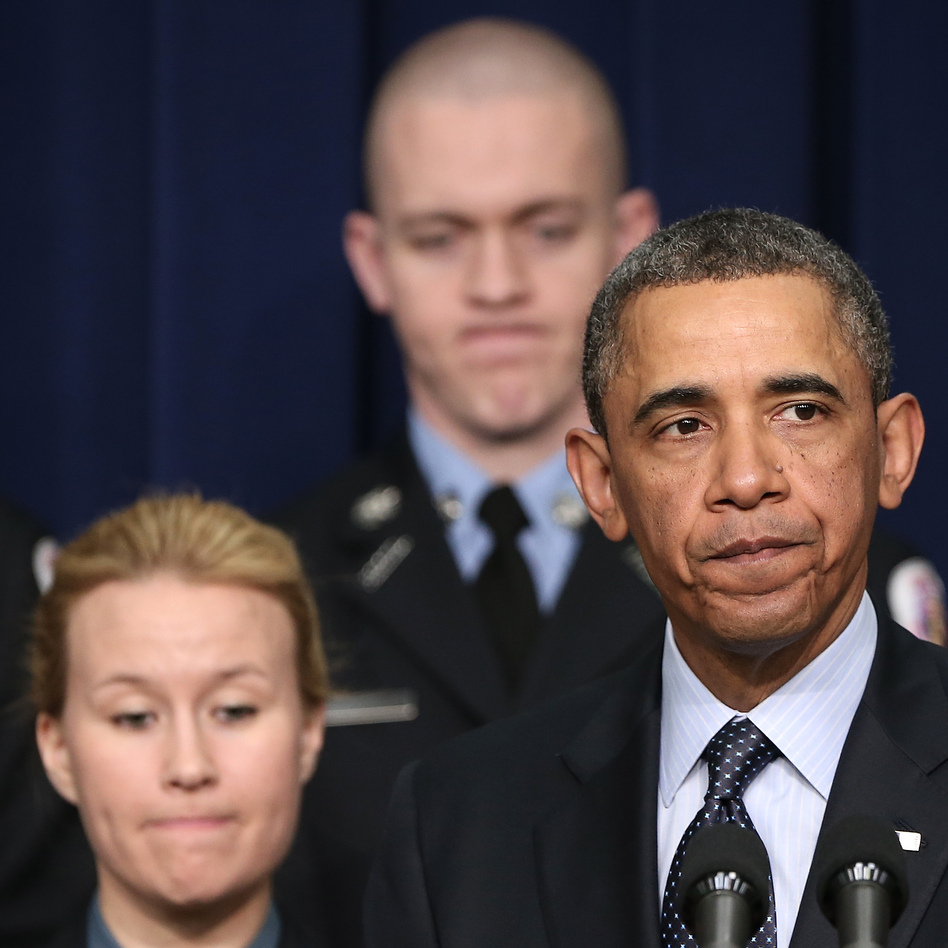 As he pressed Congress for action Tuesday, President Obama stood before a group of first responders. He made the case that their departments will be hurt if automatic budget cuts go into effect March 1. (Win McNamee/Getty Images)