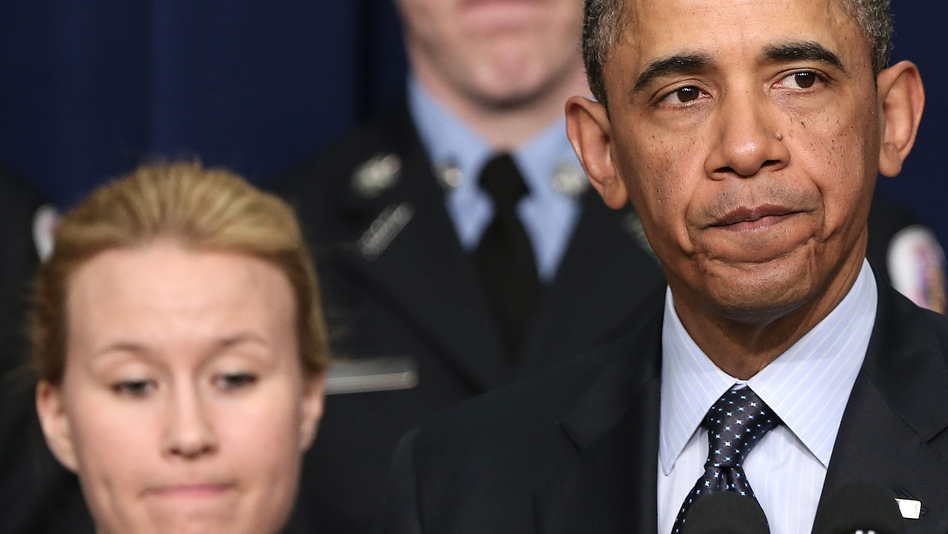 As he pressed Congress for action Tuesday, President Obama stood before a group of first responders. He made the case that their departments will be hurt if automatic budget cuts go into effect March 1. (Getty Images)