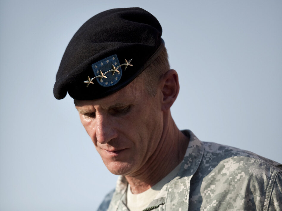 Gen. Stanley McChrystal during a retirement ceremony in 2010. His comments in a <em>Rolling Stone</em> interview helped lead to his resignation.