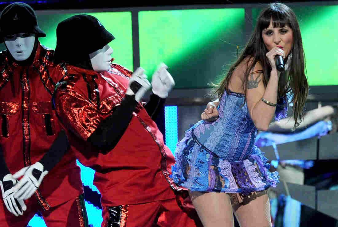 Singer Mala Rodriguez with the JabbaWockeeZ dance crew.