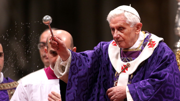 Pope Benedict XVI leads the Ash Wednesday service at the St. Peter's Basilica on Feb. 13. (Getty Images)