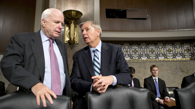 Sens. John McCain, R-Ariz., and Lindsey Graham, R-S.C., confer at the start of a Senate Armed Services Committee hearing last week on the appointments of military leaders. McCain and Graham have been among the Republicans
