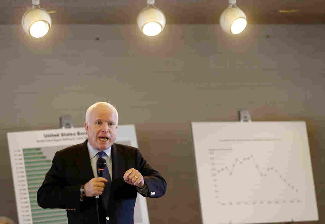Sen. John McCain, R-Ariz., speaks during a town hall on Tuesday, in Sun Lakes, Ariz.