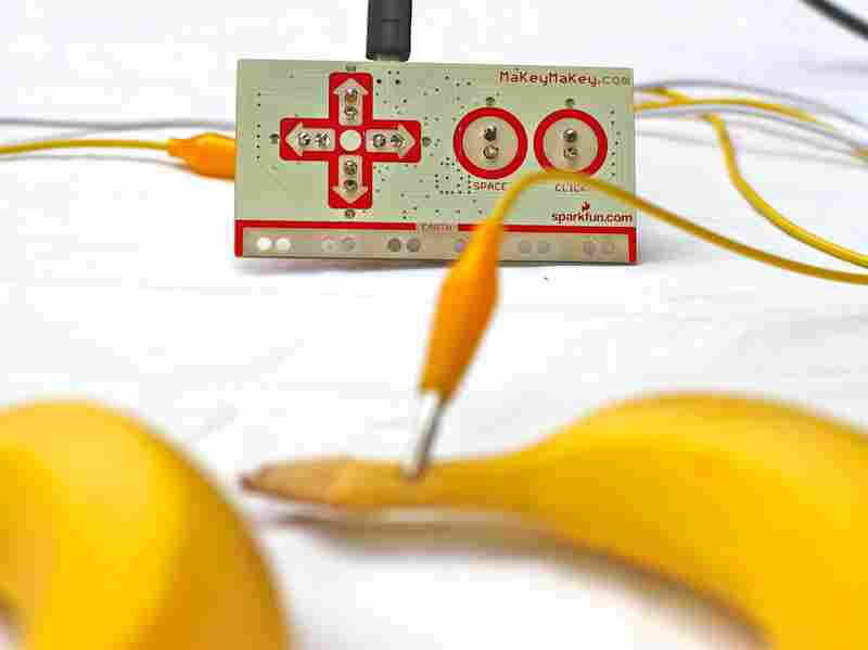 Making a banana piano is easy with the MaKey MaKey.