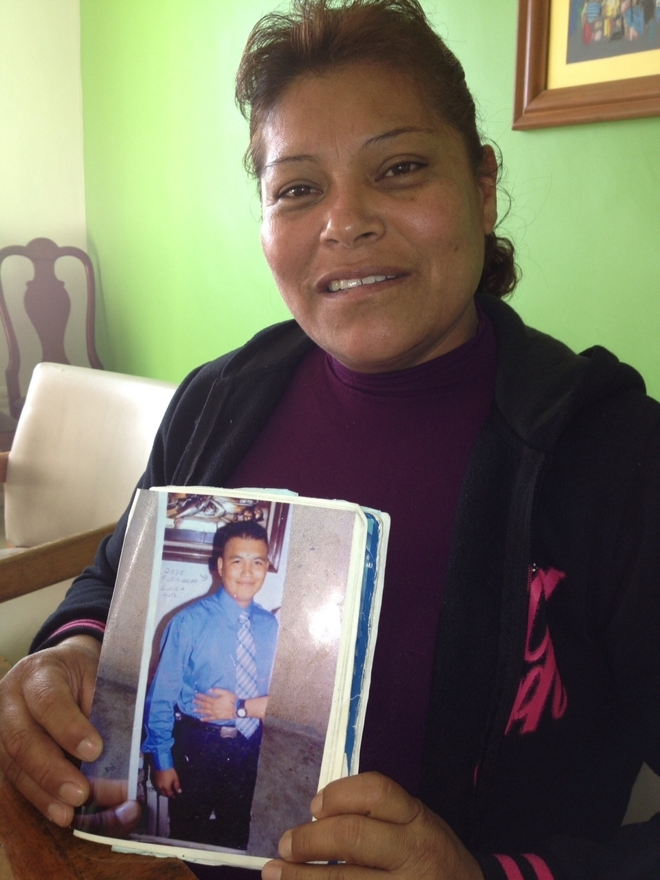 Maximina Hernandez's 23-year-old son, a police officer, disappeared on his way to work in 2007. (Carrie Kahn/NPR)