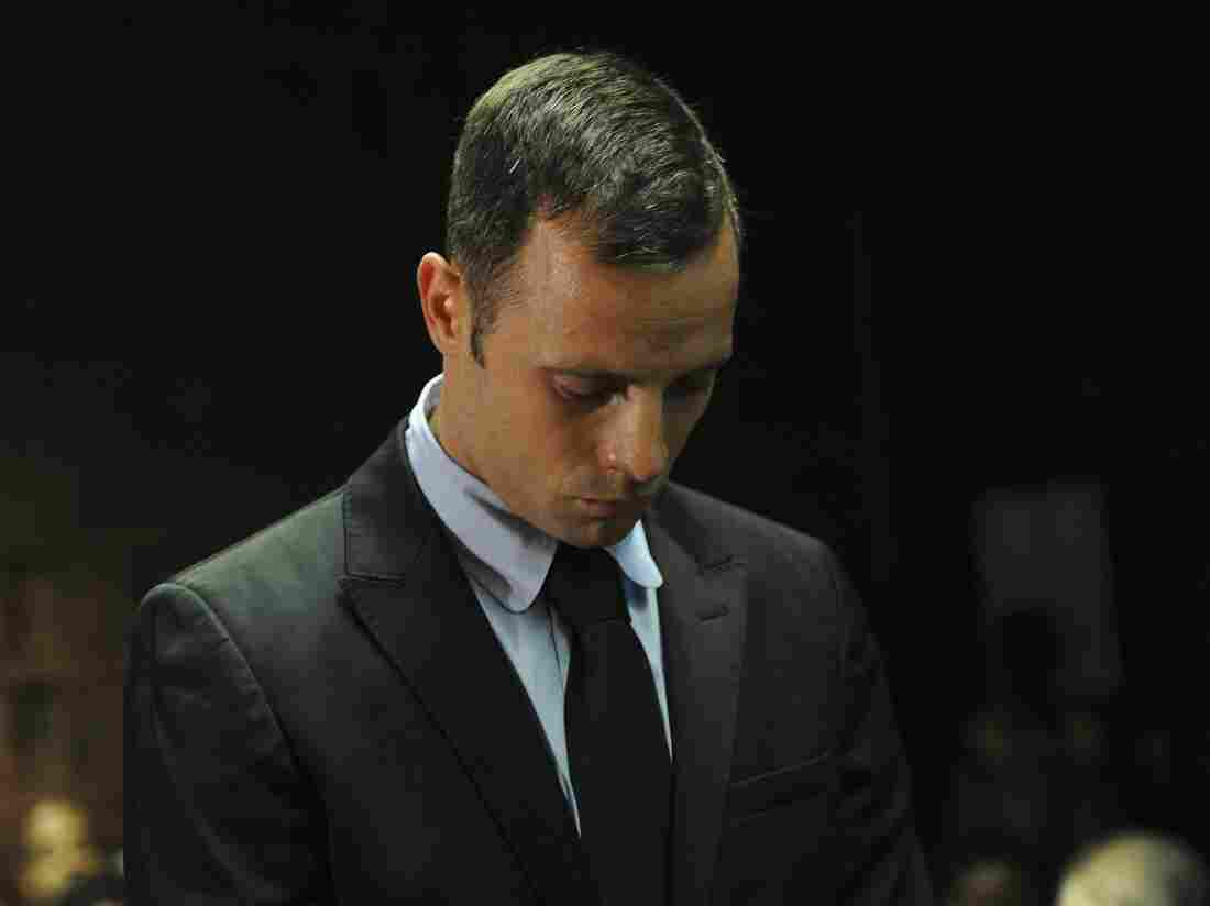 South African sprinter Oscar Pistorius in a Pretoria court Wednesday.