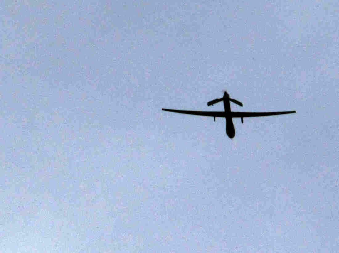 """U.S. """"Predator"""" drone over  Afghanistan in Jan. 2009."""