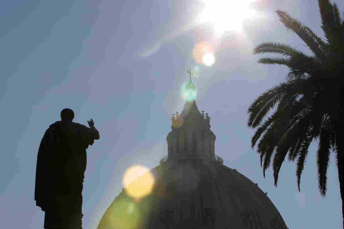 A silhouette of St. Peter's statue in front of St. Peter's Basilica is seen from the Vatican Gardens.