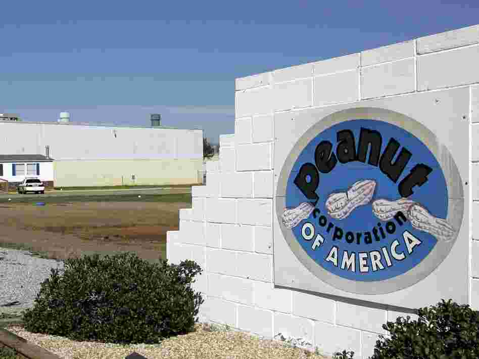 A sign outside the Peanut Corp. of America's processing plant in Blakely, Ga.