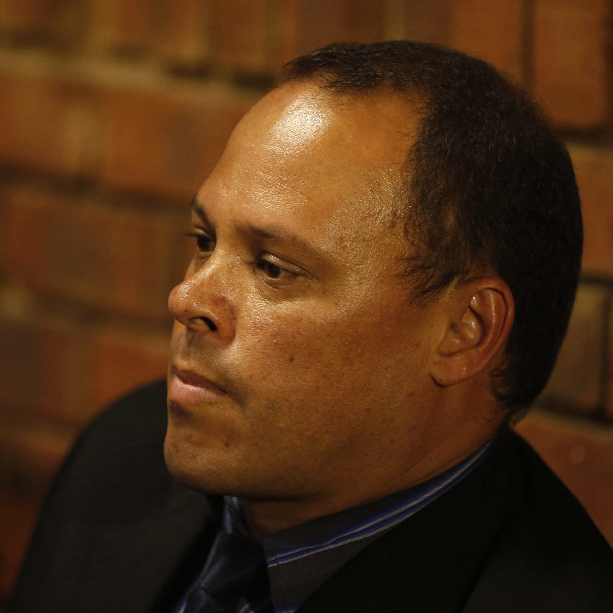 Investigating officer Hilton Botha, the lead detective in the Oscar Pistorius murder case, in a Pretoria courtroom on Thursday.