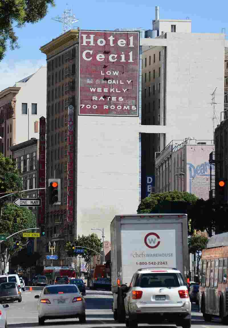 "The Cecil Hotel in Los Angeles, which advertises ""low monthly rates."""