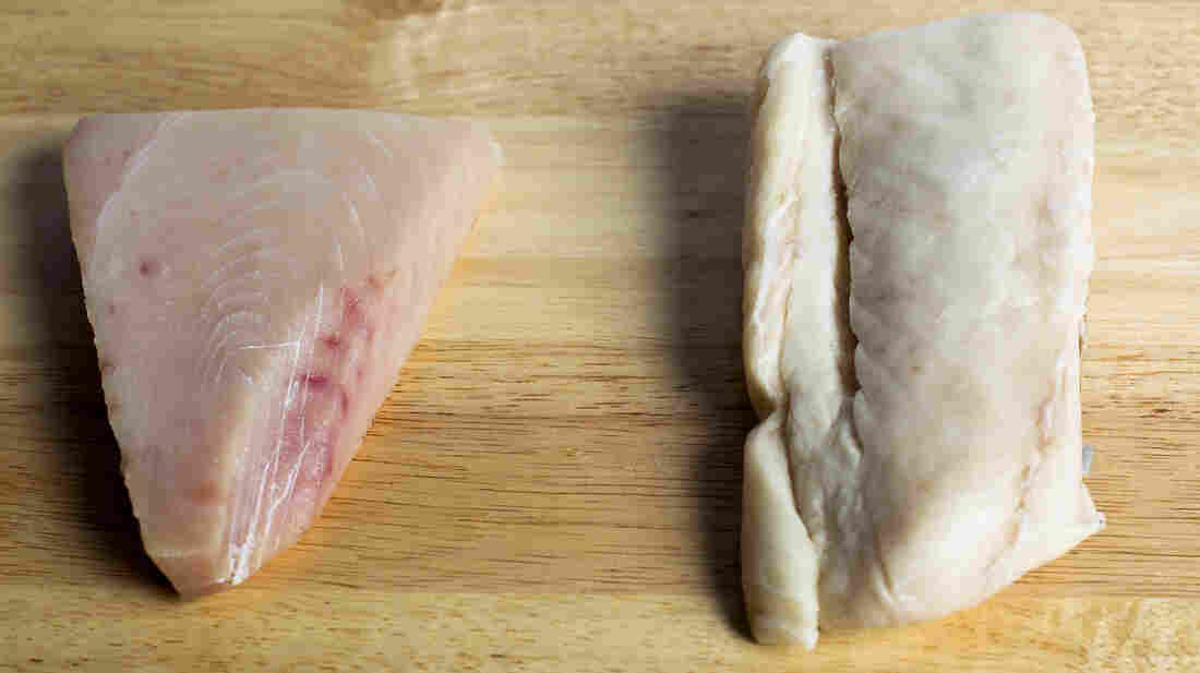 Escolar, right, is often substituted for more expensive Albacore tuna (left), a report on mislabeled seafood found.