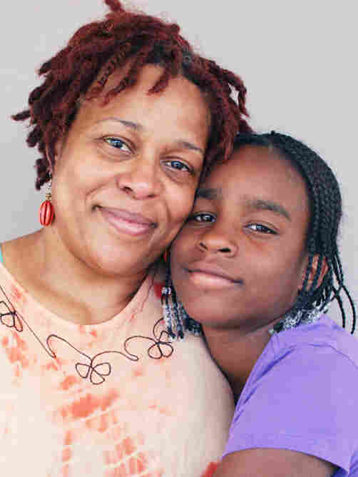 Rowena Gore-Simmons and her daughter, Kenya, now 16, at StoryCorps in Baltimore.