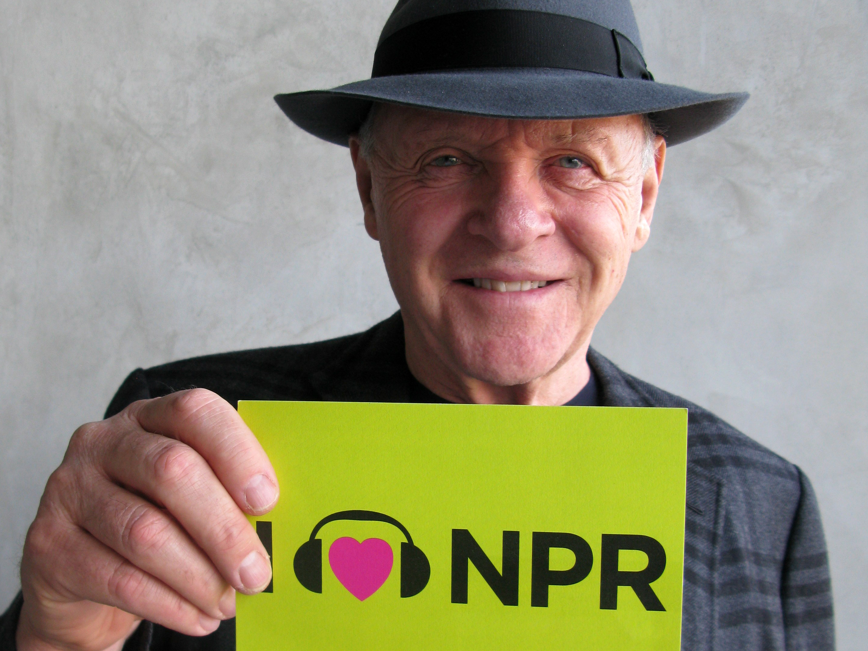 Anthony Hopkins takes on the role of legendary filmmaker Alfred Hitchcock in Hitchcock, nominated for makeup and hairstyling. The actor talked to NPR Host Scott Simon on Weekend Edition last year, and couldn't leave without sharing the love.