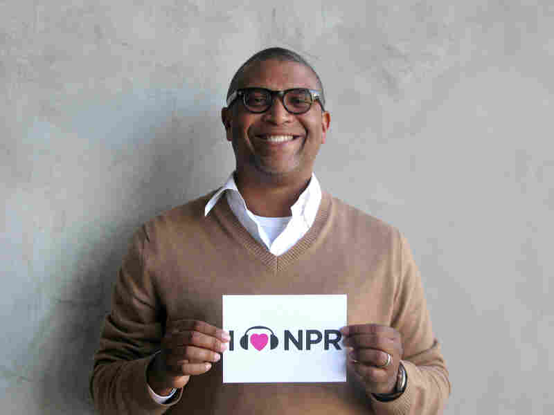 Producer Reginald Hudlin's film Django Unchained is up for five awards including Best Picture. While we didn't have a gold statuette for him, Hudlin was happy to show NPR some love with something a little less shiny. (http://n.pr/12Ht1lf)
