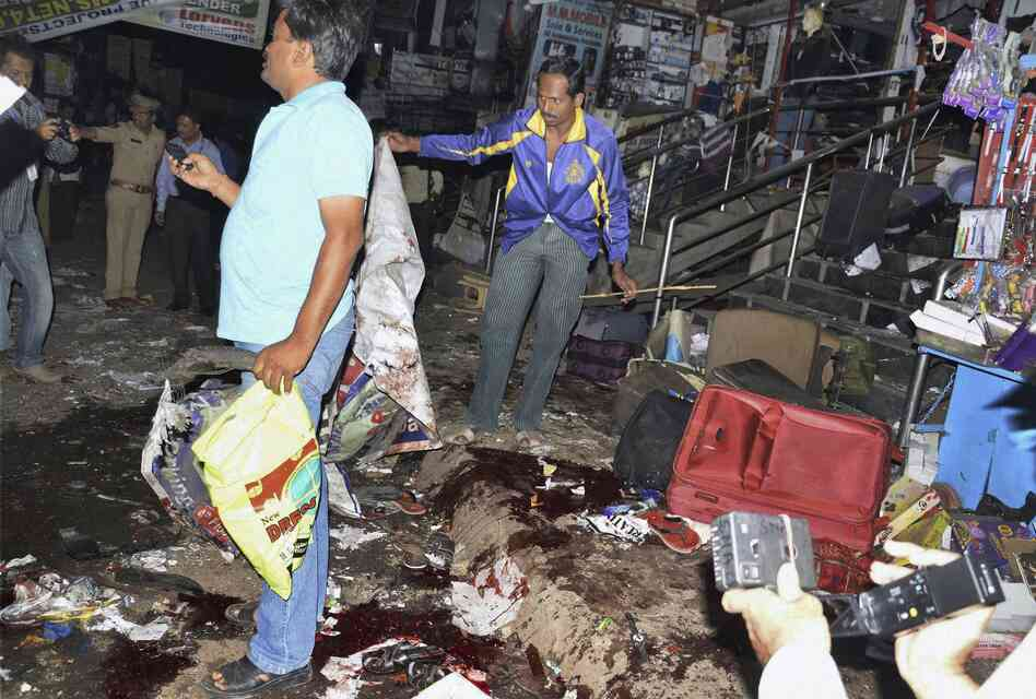 The scene of a blast in Hyderabad, India on Thursday, Feb. 21, 2013.