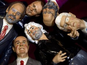 Figurines representing the main candidates of the upcoming Italian general election are on display in a shop in Naples. Seen (clockwise from left) are magistrate Antonio Ingroia, former Prime Minister Silvio Berlusconi, Oscar Giannino, outgoing Prime Minister Mario Monti, Grillo and the Democratic Party's Pier Luigi Bersani.