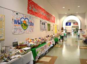 Some of the many cards, letters and artwork sent to Newtown from all over the world was on display at the Newtown Municipal Center on Jan. 30. The items were recently moved to temporary storage.