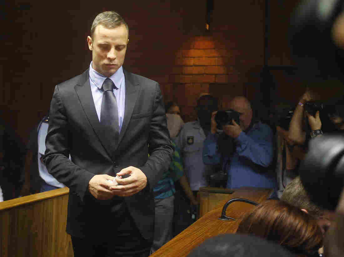 Oscar Pistorius as he entered a court in Pretoria on Thursday.