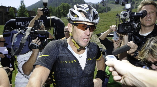 Lance Armstrong finishes the Power of Four Mountain Bike Race on Aspen Mountain on August 25, 2012. (Getty Images)