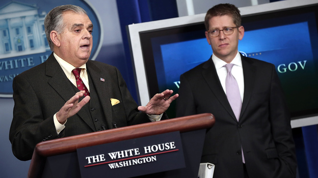 Transportation Secretary Ray LaHood (left) answers questions during a briefing with White House Press Secretary Jay Carney on Friday. (Getty Images)