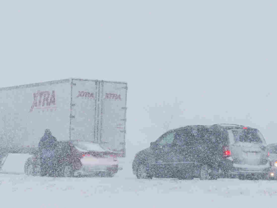 Scene along I-35 near  Kansas City on Thursday.