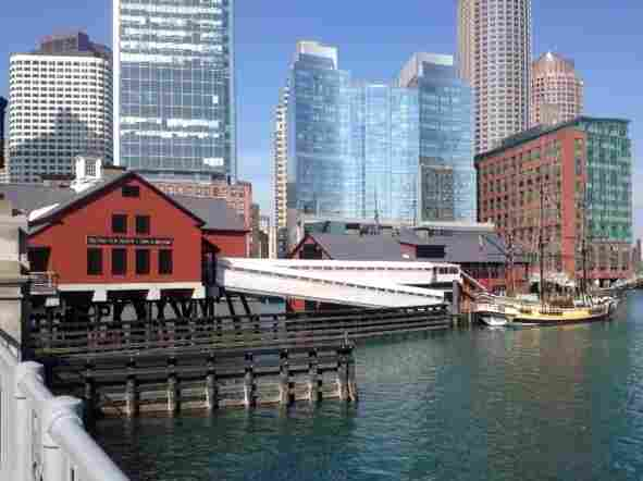 The Boston Tea Party museum sits right on the edge of the harbor. With rising sea levels and the increasing threat of strong storms, buildings like these are at particular risk of flooding.