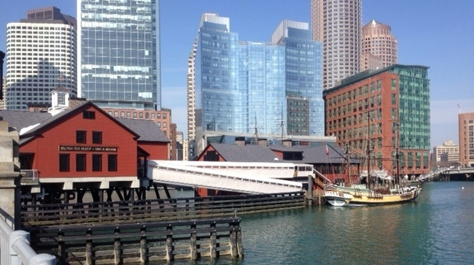 The Boston Tea Party museum sits right on the edge of the harbor. With rising sea levels and the increasing threat of strong storms, buildings like these are at particular risk of flooding. (NPR)