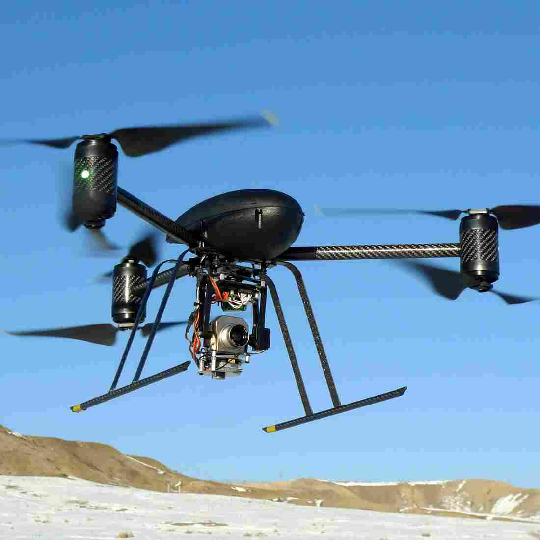 A small Draganflyer X6 drone on a test flight in Mesa County, Colo. Several police departments around the country are experimenting with using drones, but critics are concerned about potential privacy violations.
