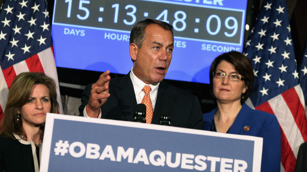 House Speaker John Boehner  held a news conference Feb. 13 in which Republicans promoted the hashtag #Obamaquester to blame President Obama for automatic spending cuts set to kick in March 1. (Getty Images)