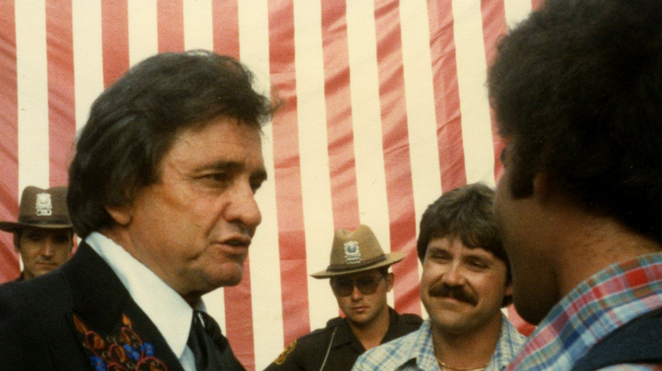 Don Gonyea (far right, in vest) interviewing Johnny Cash in 1981. (Courtesy of Don Gonyea )
