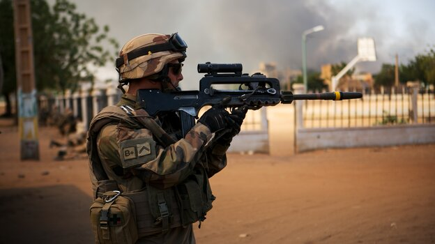 A French soldier battles Islamist fighters in Gao, Mali on Thursday, Feb. 21, 2013.