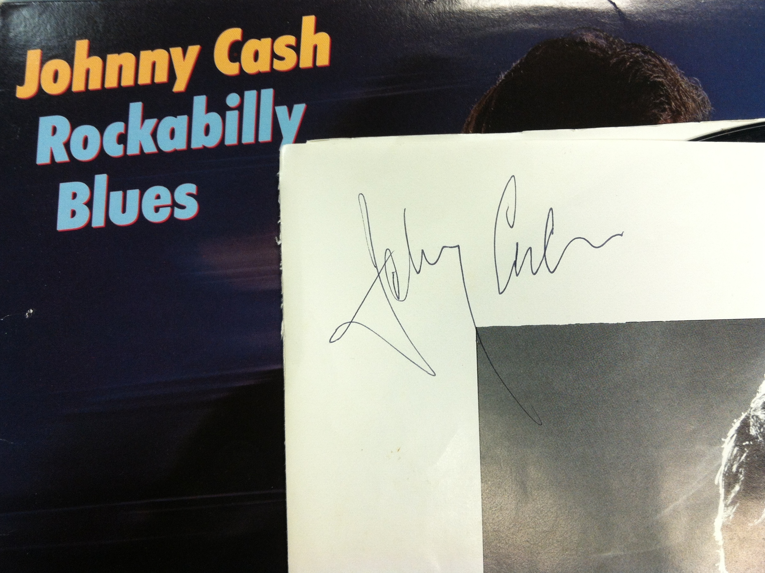 Gonyea's copy of Johnny Cash's Rockabilly Blues, signed by the man himself.