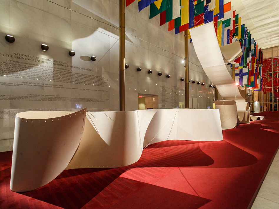 The Hall of Nations is transformed by a plywood installation called Sup-Plywood, or How to Be Singular in the Plural. Plywood is one of the most used materials in Nordic design. The installation was created by the Norwegian architecture firm Snohetta. (Courtesy John F. Kennedy Center for the Performing Arts )